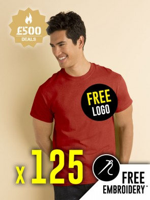 125 x Gildan Heavy Cotton T-Shirts