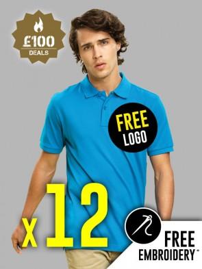 12 x Asquith & Fox 100% Cotton Polo Shirts