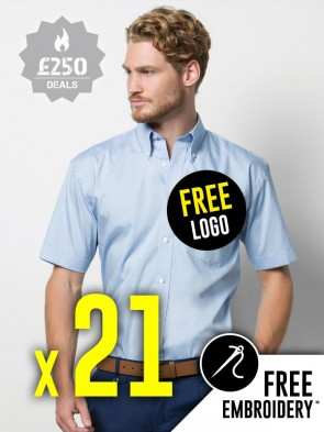 21 x Kustom Kit Short Sleeve Corporate Oxford Shirts