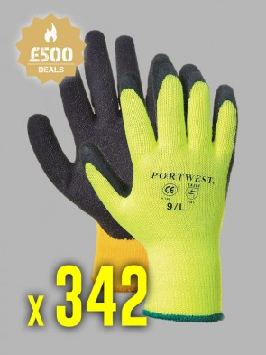 342 x Portwest Thermal Grip Latex Gloves