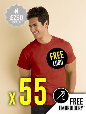 55 x Gildan Heavy Cotton T-Shirts