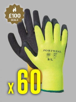 60 x Portwest Thermal Grip Latex Gloves