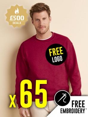 65 x Gildan Heavy Blend Sweatshirts