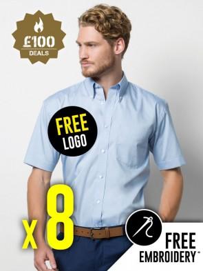 8 x Kustom Kit Short Sleeve Corporate Oxford Shirts
