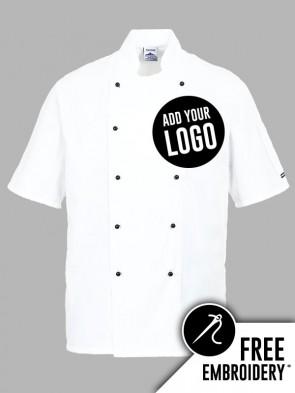 Portwest Kent Popper Short Sleeve Chefs Jacket
