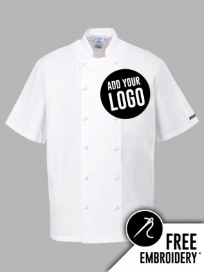 Portwest Newport Popper 100% Cotton Short Sleeve Chefs Jacket