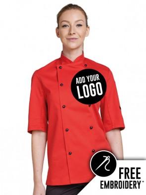 Dennys Technicolour Ring Stud Short Sleeve Chefs Jacket