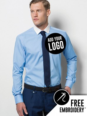 Kustom Kit Contrast Collar Long Sleeve Business Shirt