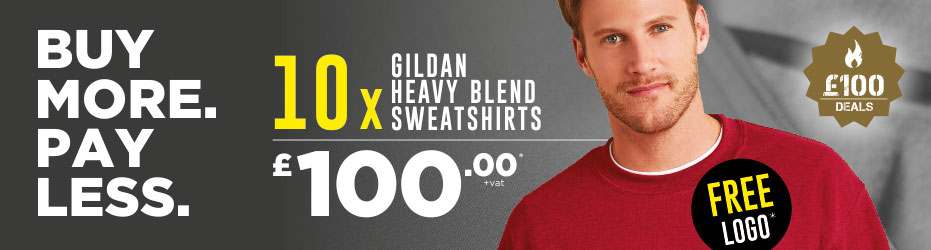 Buy more. Pay less. 10 x Gildan Sweatshirts with your logo for just £100