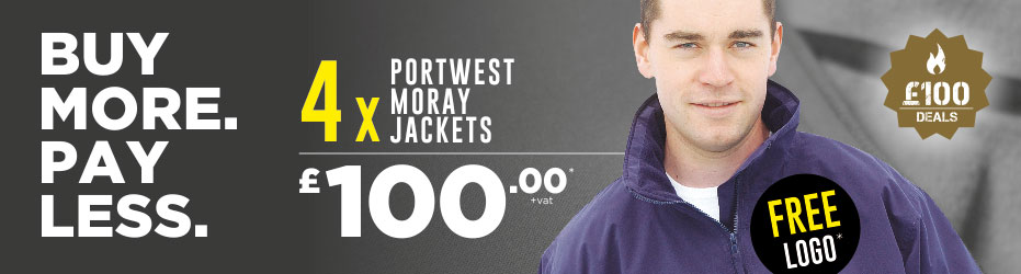 Buy more. Pay less. 4 x Portwest Moray Jackets with your logo for just £100