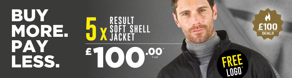 Buy more. Pay less. 5 x Result Soft Shell Jackets with your logo for just £100