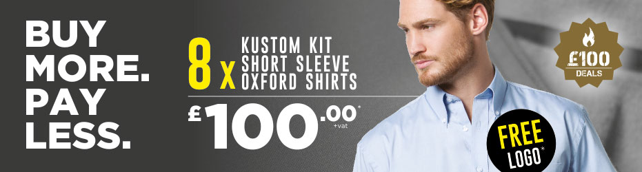 Buy more. Pay less. 8 x Kustom Kit Short Sleeve Shirts with your logo for just £100