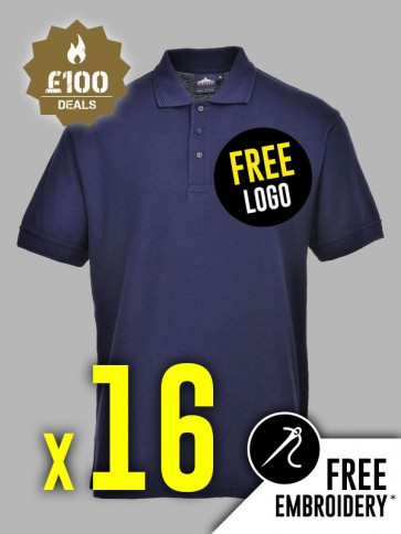 16 x Portwest Naples Polo Shirts