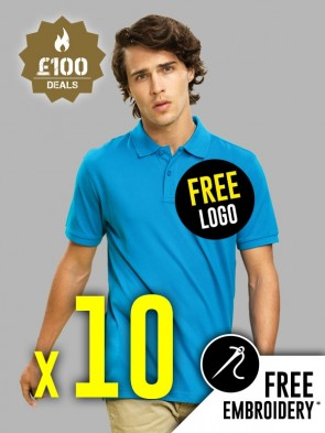 10 x Asquith & Fox 100% Cotton Polo Shirts