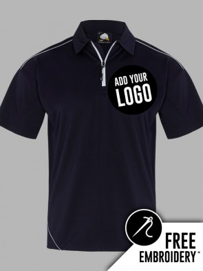 Orn Fireback 100% Polyester Contrast Zip Neck Wicking Polo Shirt