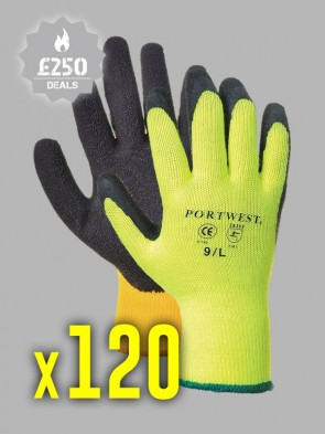 120 x Portwest Thermal Grip Latex Gloves