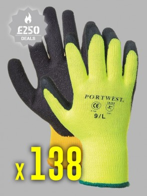 138 x Portwest Thermal Grip Latex Gloves