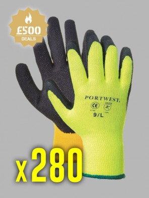 280 x Portwest Thermal Grip Latex Gloves