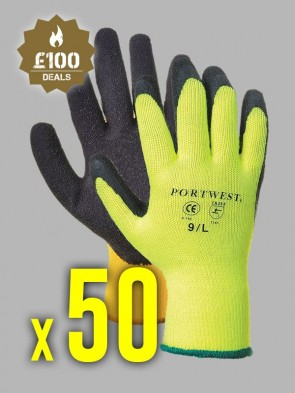 50 x Portwest Thermal Grip Latex Gloves