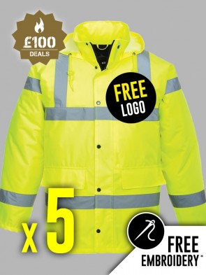 5 x Portwest Hi-Vis Traffic Jackets