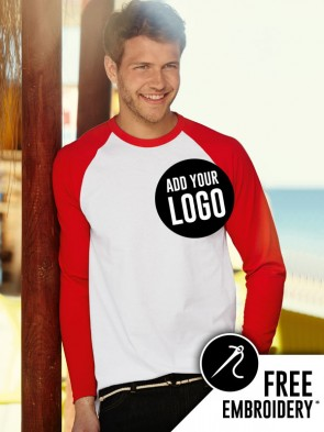 Fruit of the Loom Long Sleeve Contrast Baseball T-Shirt