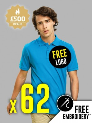 62 x Asquith & Fox 100% Cotton Polo Shirts