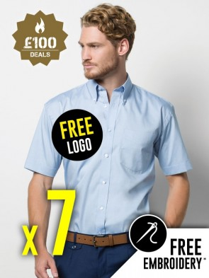 7 x Kustom Kit Short Sleeve Corporate Oxford Shirts