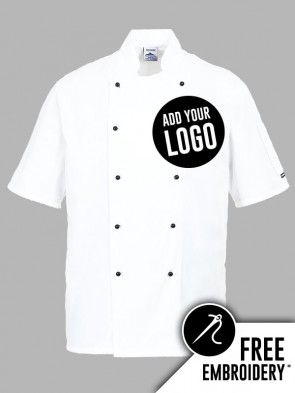 Portwest Kent Popper Short Sleeve Chefs Jacket
