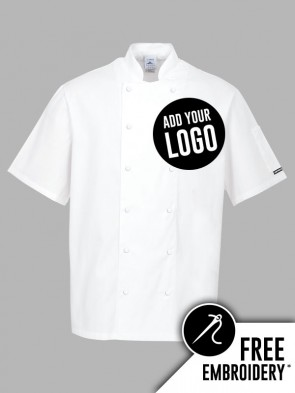Portwest Aberdeen Ring Stud 100% Cotton Short Sleeve Chefs Jacket