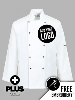 Portwest PLUS SIZE Somerset Popper Chefs Jacket