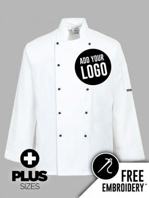 Portwest PLUS SIZE Somerset Popper Chefs Jacket