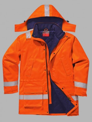 Portwest Bizflame Hi-Vis Flame Resistant Anti-Static Winter Jacket