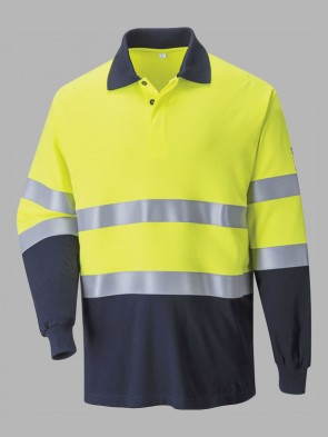 Portwest Modaflame Flame Resistant Hi-Vis Two Tone Anti-Static Long Sleeve Polo Shirt