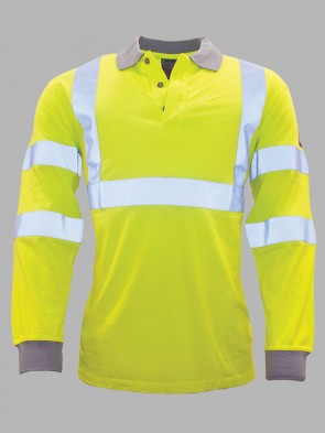Portwest Modaflame Flame Resistant Hi-Vis Anti-Static Long Sleeve Polo Shirt