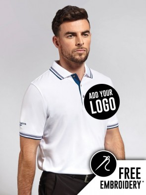Glenmuir Ethan Performance 100% Polyester Tipped Polo Shirt