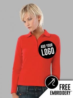 B&C Ladies Safran Pure Long Sleeve Polo Shirt
