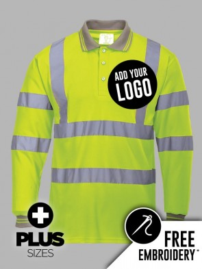Portwest PLUS SIZE Hi-Vis Long Sleeve Polo Shirt