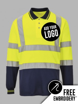 Portwest Hi-Vis Two Tone Long Sleeve Polo Shirt