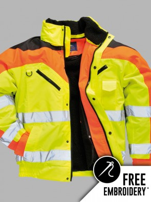 Portwest Hi-Vis Contrast Plus Bomber Jacket