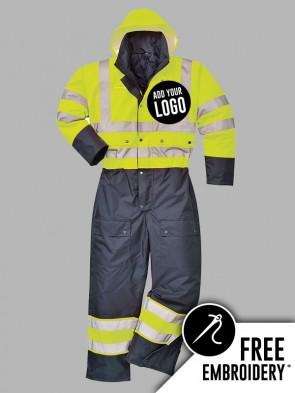 Portwest Hi-Vis Contrast Lined Hooded Overall