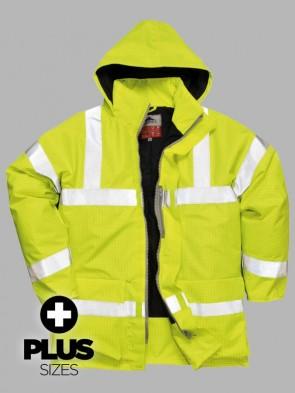 Portwest PLUS SIZE Bizflame Hi-Vis Flame Resistant Anti-Static Traffic Rain Jacket