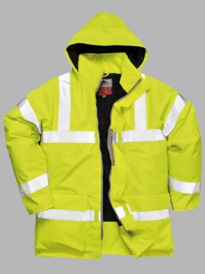 Portwest Bizflame Hi-Vis Flame Resistant Anti-Static Traffic Rain Jacket