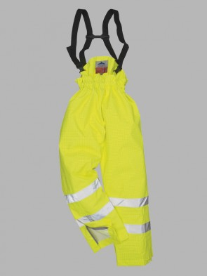 Portwest Bizflame Hi-Vis Flame Resistant Anti-Static Traffic Lined Rain Trousers