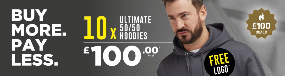 Buy more. Pay less. 10 x Ultimate Hoodies with your logo for just £100