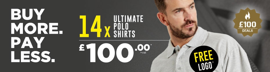 Buy more. Pay less. 14 x Ultimate Polo Shirts with your logo for just £100