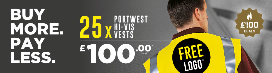 Buy more. Pay less. 25 x Portwest Hi-Vis Vests with your logo for just £100