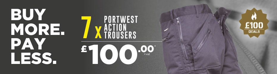 Buy more. Pay less. 7 x Portwest Action Trousers for just £100