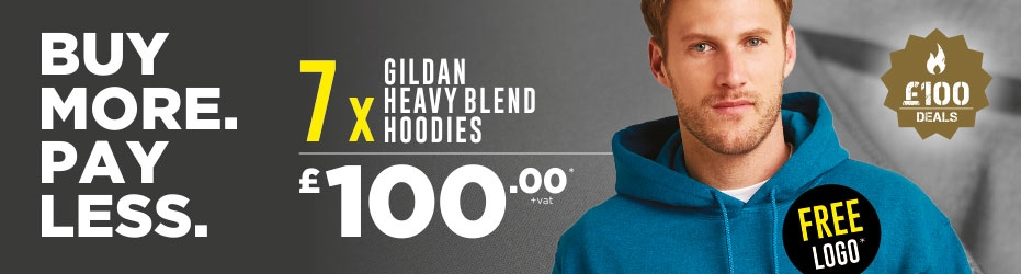 Buy more. Pay less. 7 x Gildan Hoodies with your logo for just £100