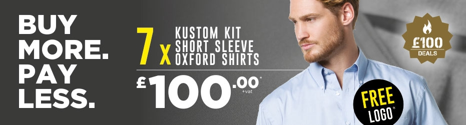 Buy more. Pay less. 7 x Kustom Kit Short Sleeve Oxford Shirts with your logo for just £100