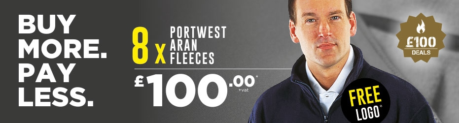 Buy more. Pay less. 8 x Portweet Aran Fleeces with your logo for just £100